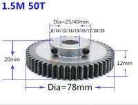 9pc 1.5M 50T 1pc 1.5mod 25teeth 1.5 mod gear rack 50teeth bore 8 25mm spur gear precision 45 steel cnc pinion