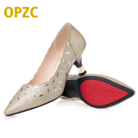 OPZC Summer Women Shoes, Fashion Pointed Toe Pumps Sandals, hollow out Dress low Heels Boat Shoes, Solid Wedding Ladies Heels