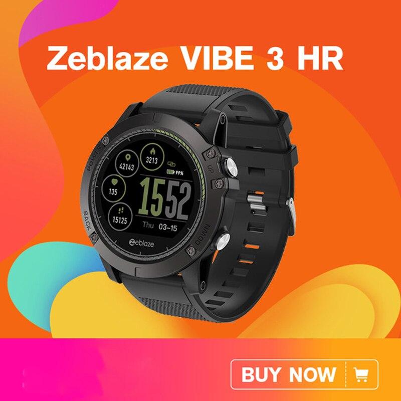[En Stock] 2018 Zeblaze VIBE 3 HR Smartwatch durabilidad reloj inteligente impermeable de los hombres portátil batería excelente corazón monitor
