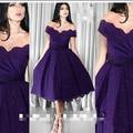 Fashion Sweetheart Purple Short Sleeve Lace Knee Length Cocktail Dresses