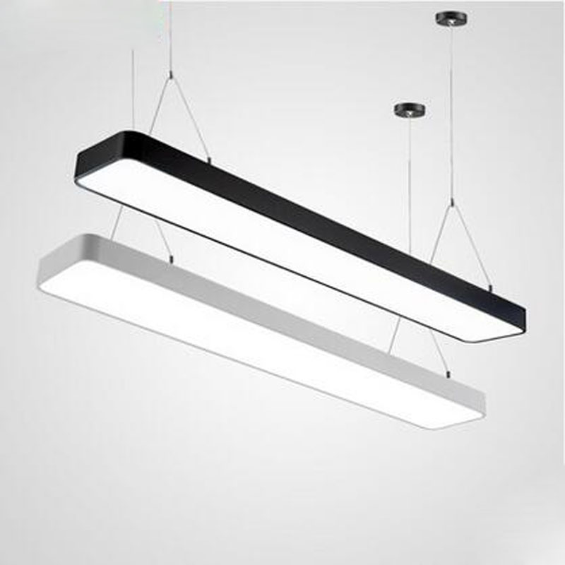 X Modern simple LED office chandelier long strip of aluminum lamp rectangular commercial lighting shopping mall project lighting modern fashion simple circular wooden handle aluminum lid chandelier made of iron painting diameter 50cm ac110 240v