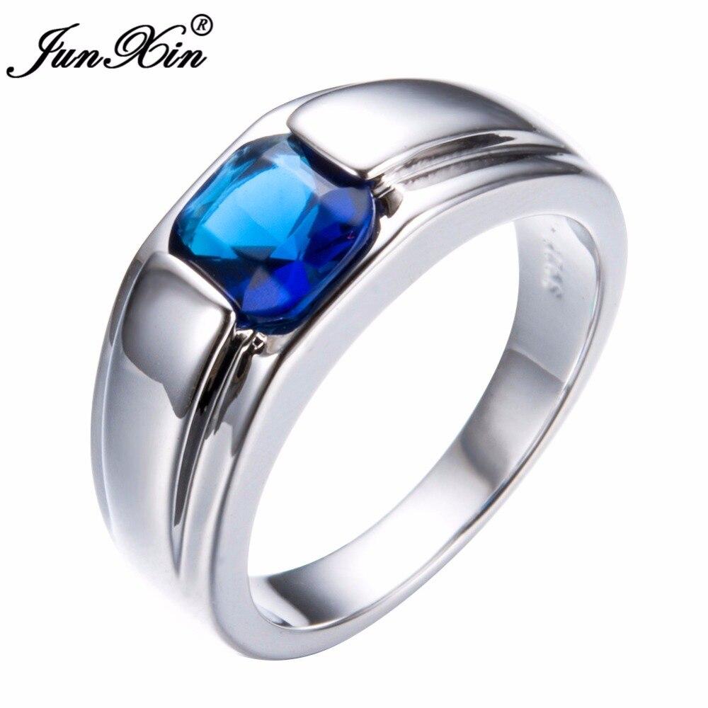 Schmuck & Zubehör Streng Junxin Wunderschönen Geometrischen Design Männlichen Weiß/blau Finger Ring Mode Silber Farbe Einfache Ring Versprechen Engagement Ringe Für Männer Senility VerzöGern