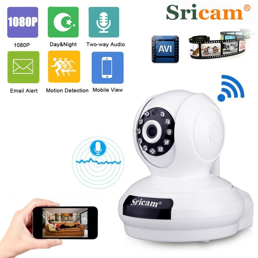 Sricam 1080P HD Wireless IP Camera H.264 WiFi Indoor Security Camera P2P PT Support TF Card Home Surveillance Cam SP019Sricam 1080P HD Wireless IP Camera H.264 WiFi Indoor Security Camera P2P PT Support TF Card Home Surveillance Cam SP019