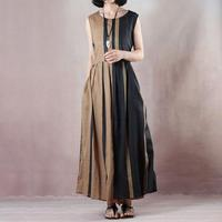 BUYKUD Elegant Women Maxi Dress Linen Lacing Striped Women Fashion Office Lady Draped Dress 2018 Summer Fashion Sexy Vest Dress
