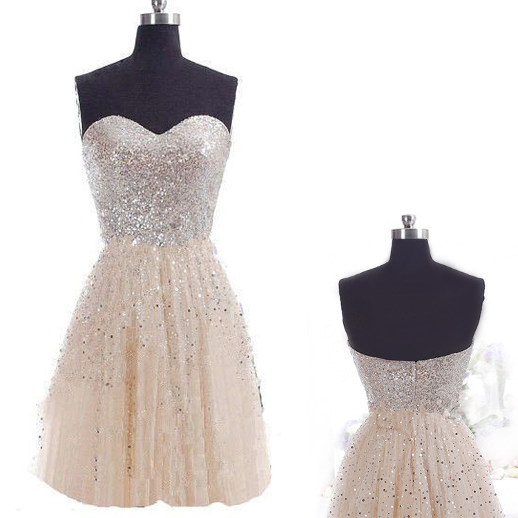 Sparkle Sequined Sweetheart   Cocktail     Dresses   Short Tulle Little Party   Dress   2018 Cheap Classical robe   cocktail   vestido coctel