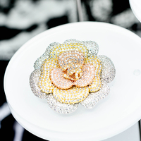 OBN Luxury Micro Paved CZ Camellia Flower Brooch High Quality Romantic Broaches For Women Gift