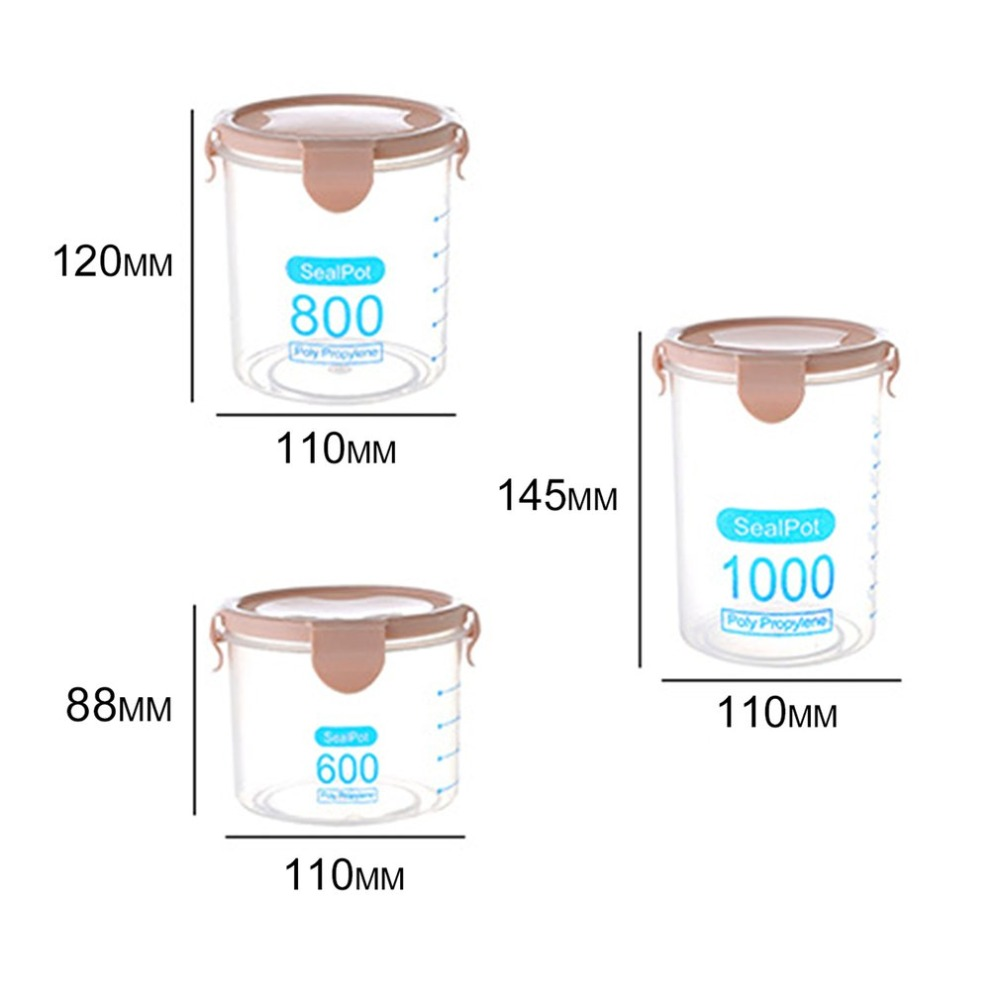 600ML Practical Household Plastic Storage Jars Food Storage Bottle Safe Non-Toxic Leakproof Sealed Kitchen Storage Box
