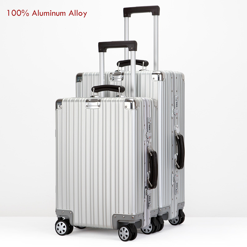 20 24 29 inches Metal Trolley Suitcase Full Aluminum Rolling Luggage With TSA Lock Large Capacity mala de viagem Travel Suitcase vintage suitcase 20 26 pu leather travel suitcase scratch resistant rolling luggage bags suitcase with tsa lock
