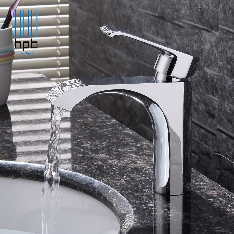 HPB New Arrival Brass Bathroom Faucet Basin Sink Mixer Tap Cold Hot Water taps Single Hole Torneira Banheiro Chrome HP3046 bathroom basin faucets modern chrome finished bathroom faucet single hole cold and hot water tap basin faucet mixer taps