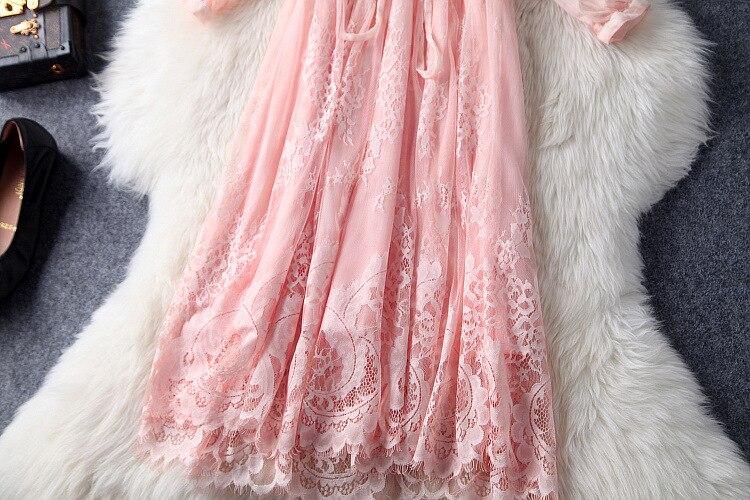 Robe Mode Dentelle Mignon A Nouvelle D'été Printemps Solide Piste ligne Femmes 2017 Rose Et Qualité Top 0xwCtqR4
