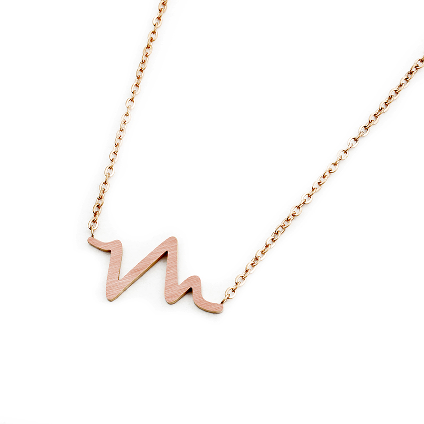 Minimalist Heart Beat Wave Necklace Stainless Steel Rose Gold Color - Fashion Jewelry - Photo 3
