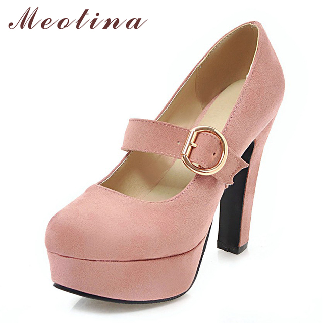 dcf1e6b24e1122 Meotina High Heels Mary Janes Shoes Women Platform Spike High Heels Shoes  Buckle Sexy Party Pumps Ladies Spring Plus Size 33-43