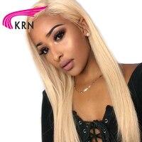 КРН #613 Цвет блондинка 13X6 кружева перед парики с ребенком волос 130 Плотность Реми Глубокая часть прямо кружева перед парики человеческих вол
