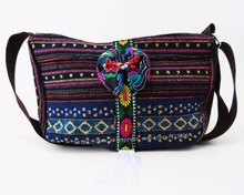 06e724c23cfa Free shipping Vintage Hmong Tribal Ethnic Thai Indian Boho shoulder message  bag handmade embroidery floral Tapestry