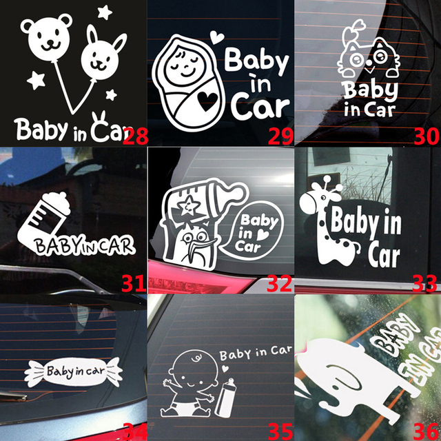 White cartoon cute lovely car stickers vinyl styling baby in car warming decal baby on board