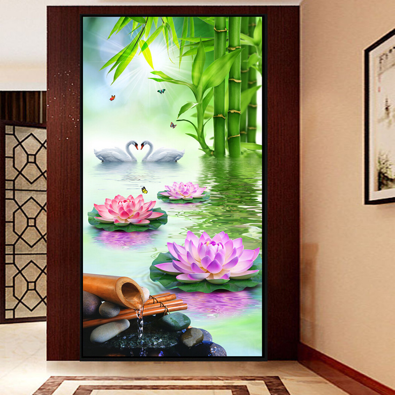 2016 diy 5d diamond painting swan gift cross stitch for Room decor 5d wall stickers