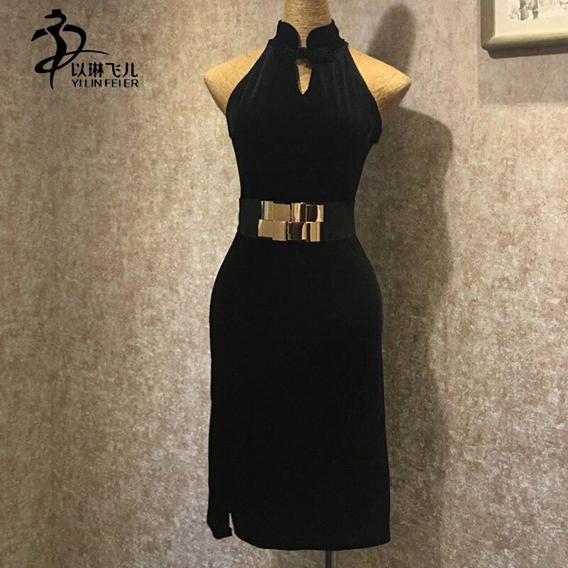 font b Women b font Black Velvet Latin Costume Sleeveless with Waist Belt Split sides
