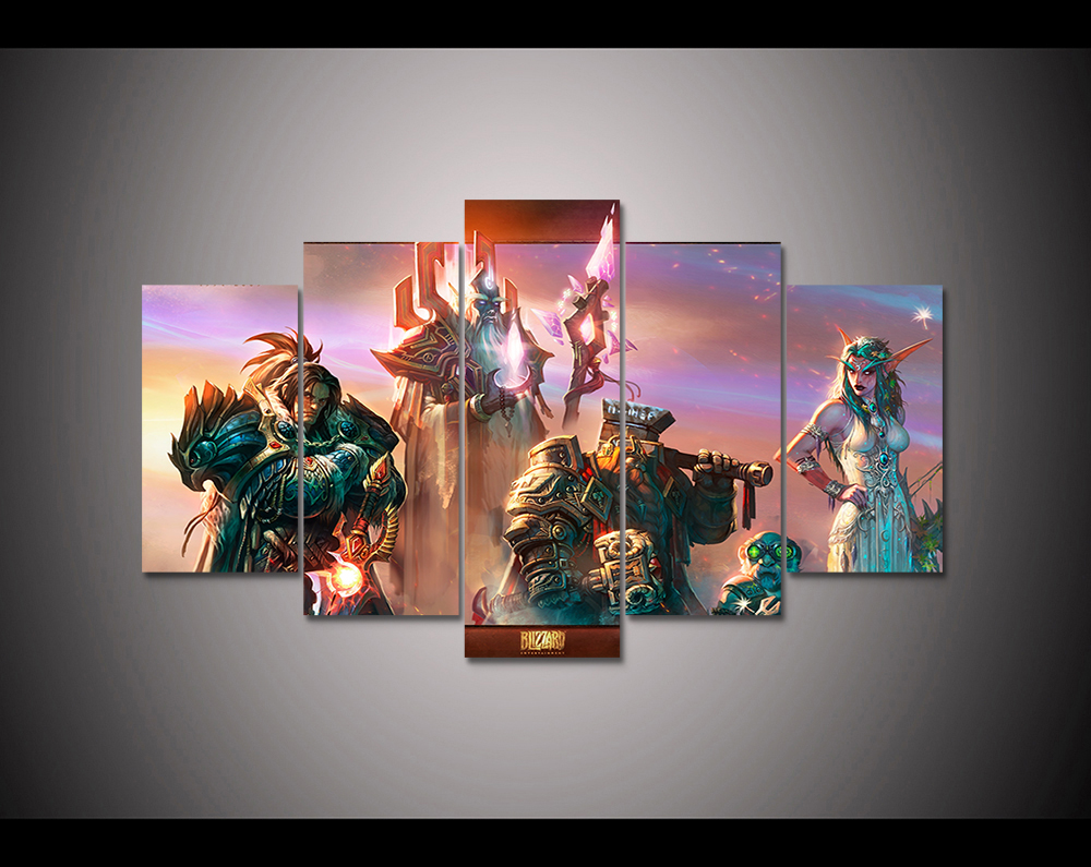 Video Game Poster 5 Panel Hd Printed Canvas Painting World