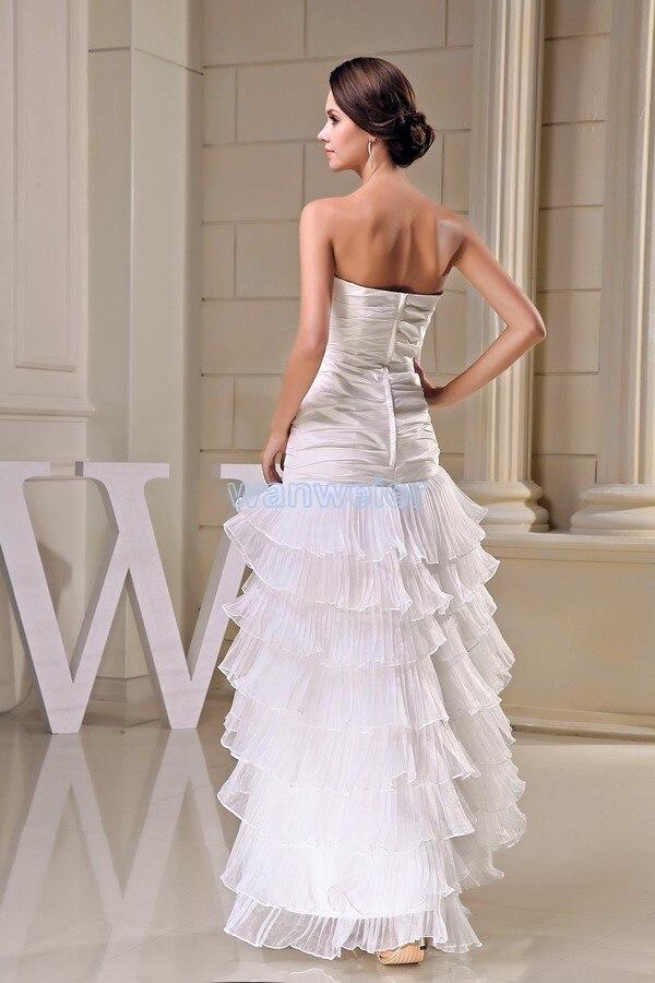 Livraison gratuite modeste 2016 nouveau design offre spéciale taille personnalisée court avant long dos grande taille robe plage longue robe de demoiselle d'honneur blanche - 5