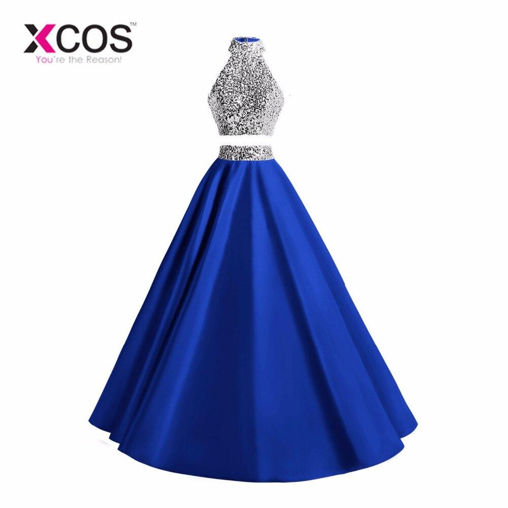 XCOS 2018 New Two Piece Prom Dresses Long Royal Blue Beaded Halter Vestido De Festa Formal Evening Party Gown A Line Women Dress