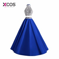 XCOS 2018 New Two Piece Prom Dresses Long Royal Blue Beaded Halter Vestido De Festa Formal Evening Party Gown A Line Women Dress