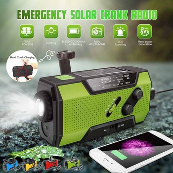 LEORY WB Solar Digital Crank Emergency AM/FM NOAA Weather Portable Radio  Flashlight Solar Panel Flashlight Rechargeable Power 1
