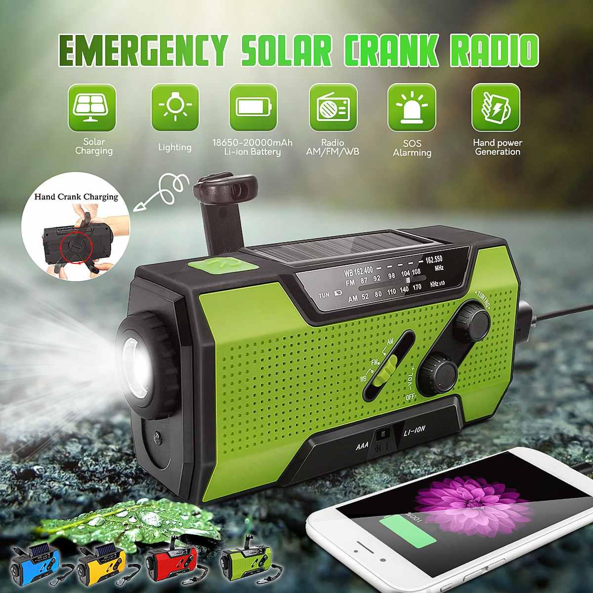 Leory wb manivela digital solar de emergência am/fm noaa tempo portátil rádio lanterna elétrica painel solar energia recarregável