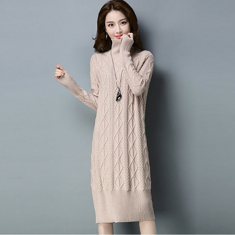 Long Knit Sweater Dress Women Thick Turtleneck Twist Loose Sweater Dress 2017 Autumn Winter Female Casual Knitted Dresses RE0181 fashion 2018 women autumn winter sweater dresses slim turtleneck sexy bodycon solid color robe long knitted office ol dress 1089