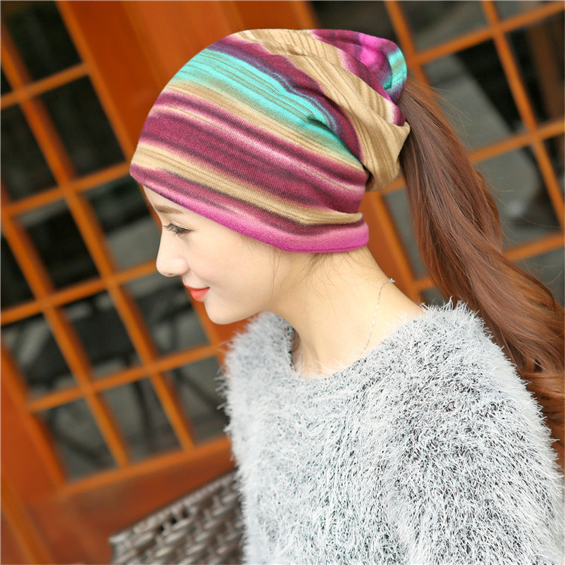 SexeMara 2017 New Cotton Beanies Caps for Women Rainbow Striped Lady Hedging Cap and Scarf Hat Female 149  ai lianxin new women doctors and nurses surgical caps hat cotton cap and short hair with sweatbands alx 114