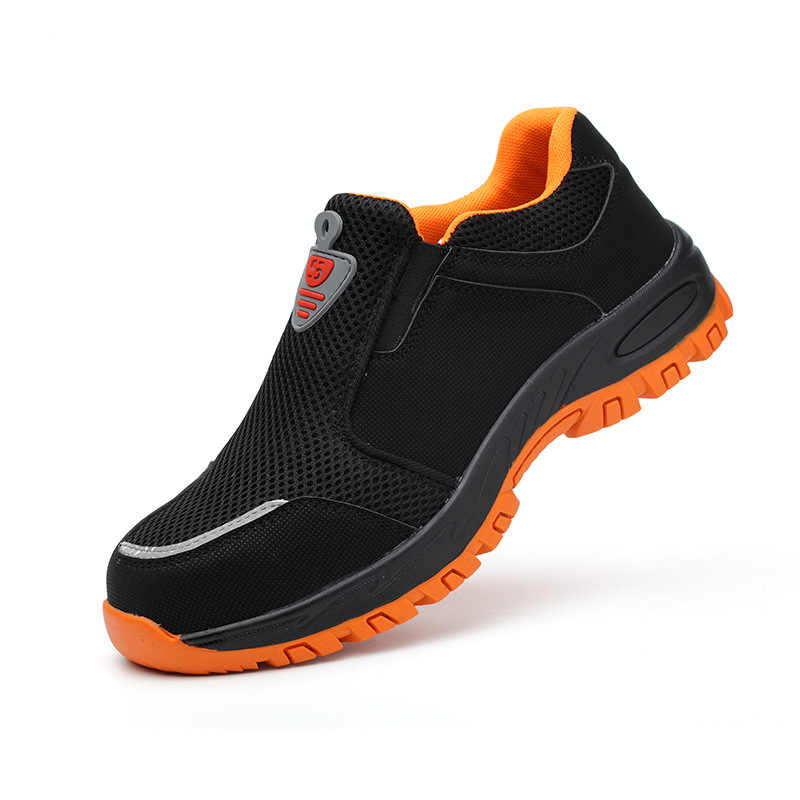 Büyük boy erkekler moda rahat çelik burun iş güvenliği ayakkabıları üzerinde kayma depo şantiye işçi elbiseler güvenlik botu
