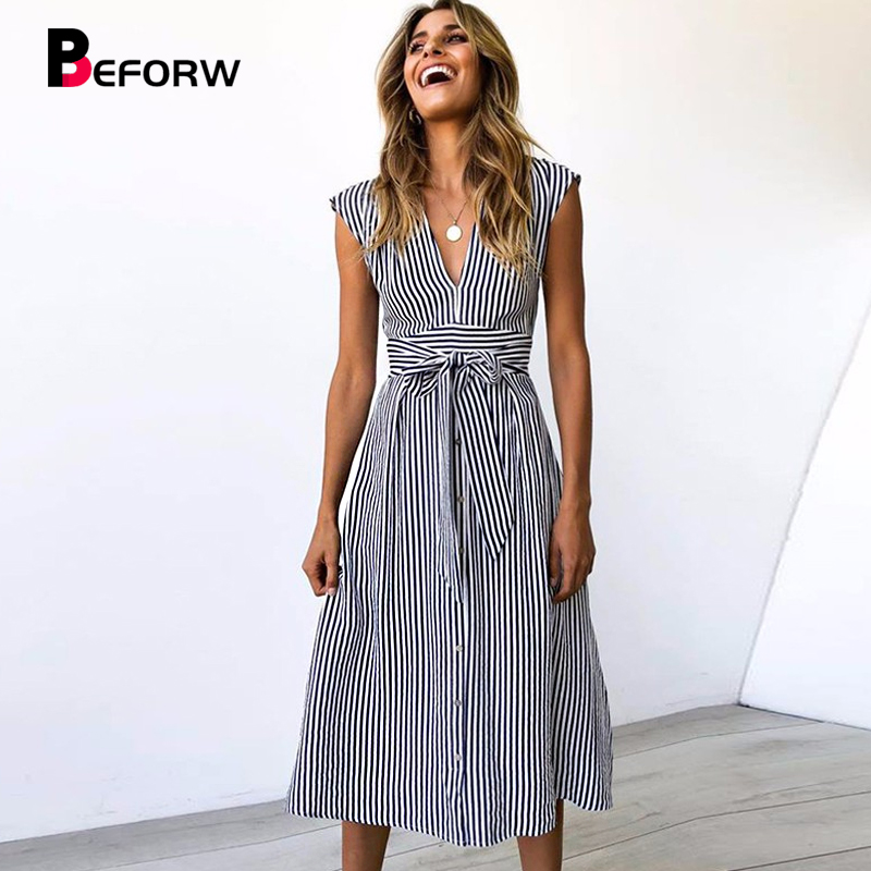 BEFORW Women Dress 2019 Summer Sleeveless Beach Dress Sexy V Neck Party Dress Vestidos Female Casual Striped Midi Dresses