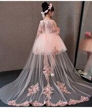 Vestidos da menina de flor glizt laço rosa apliques meninas vestido de casamento trailing princesa vestidos crianças traje roupas verão