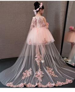 Image 1 - Çiçek Kız Elbise Glizt Pembe Dantel Aplikler Kızlar gelinlik Firar Prenses Elbiseler Çocuklar Kostüm Çocuk yaz giysileri