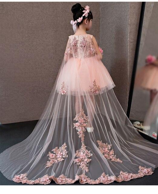 Çiçek Kız Elbise Glizt Pembe Dantel Aplikler Kızlar gelinlik Firar Prenses Elbiseler Çocuklar Kostüm Çocuk yaz giysileri