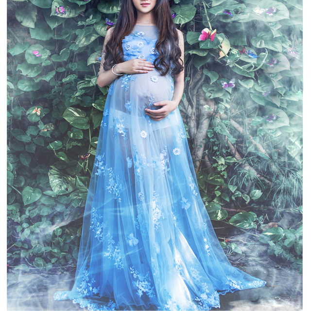 a9c039ccf18 Maternity Lace Dress for Photo Shoot Pregnancy Photography Long Mermaid  Lace Dress Pregnant Women Gown Baby