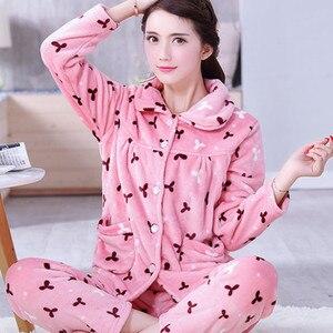Image 5 - Seksi yeşil kış kadın pijama kalın pazen çiçek baskı sıcak pijama Set uzun kollu tam pantolon iki parçalı 2018 üst moda