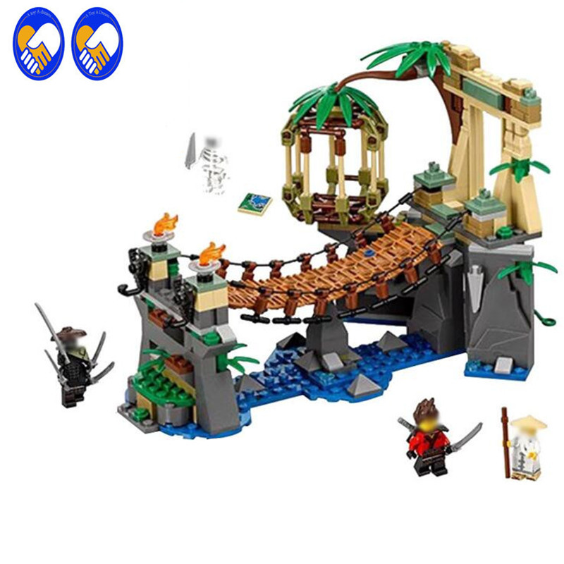 цена на A Toy A Dream 334pcs 06059 Ninja Master Falls Jungle Tree Bridge Model Building Blocks Children Assemble Toys Bricks Christmas