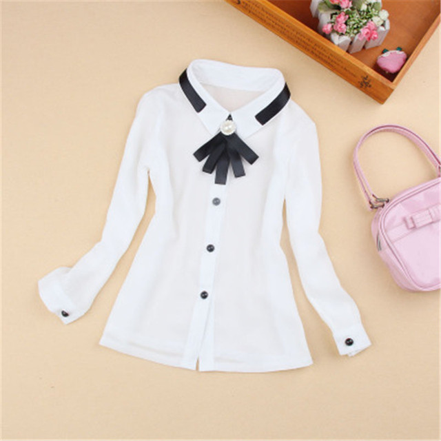 2-16Y 2017 Spring Fall Chiffon Bow Pearl Long Sleeve Blouses School Girl Blouse Tops Kids Baby Girls White Shirts Clothes AA2109