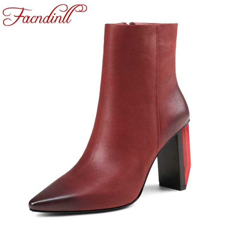 FACNDINLL women riding boots new genuine leather thick high heels pointed toe shoes woman zipper black ankle boots autumn boots facndinll women genuine leather ankle boots black red fur leather high heels pointed toe shoes woman autumn winetr riding boots