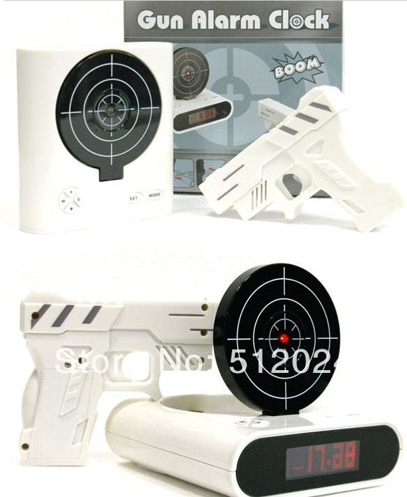 (36set /lot) 2014 newest Target Desk Shooting Gun Alarm Clock Cool Gadget Toy Novelty with Red