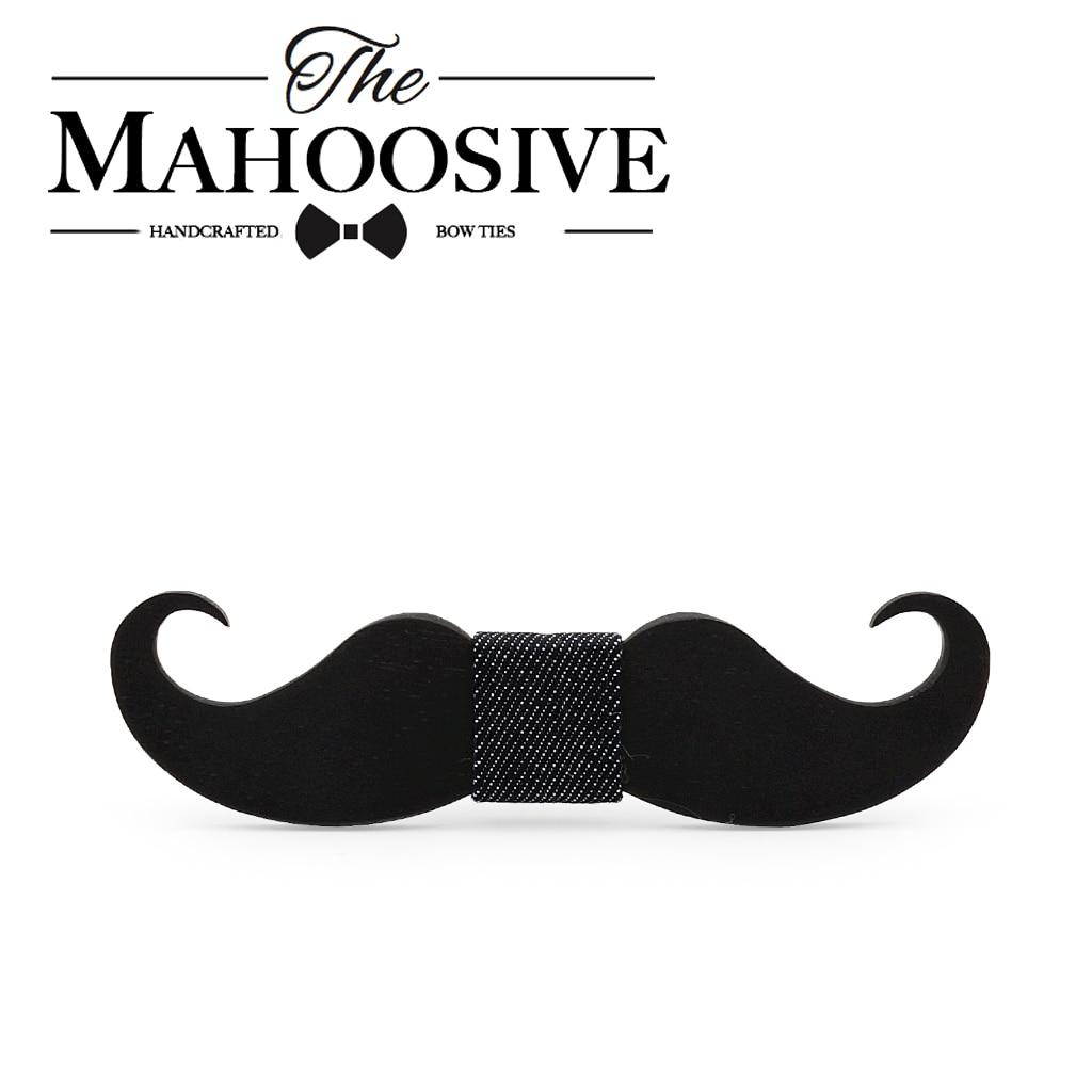 Mahoosive novedades divertidas corbatas hecho a mano bigote de madera de arco corbata pajarita cuello lazos fábrica venta al por mayor envío gratis