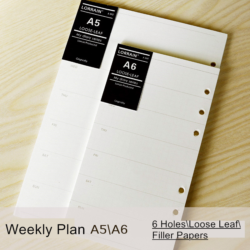 Loose-leaf Notebook Refill Filofax A5 A6 Hardiron Weekly Scheduler Week Organizer Planner Spiral Filler Papers