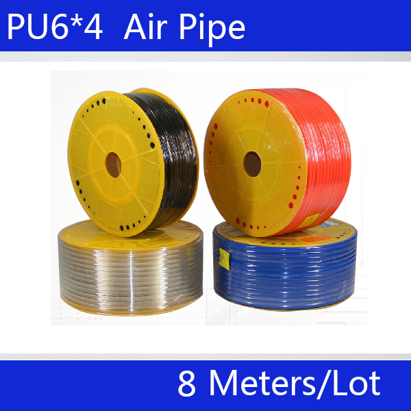 Free shipping PU Pipe 6*4mm for air & water 8M/lot Pneumatic parts pneumatic hose ID 4mm OD 6mm black 6mm od x 4mm id fleaxible pu air tube pneumatic hose 15m length free shipping