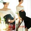 Meia Manga Mulheres Grávidas Tiro Foto Roupas Definir Moda Shoulderless Top + Saia Longa Materninty Fotografia Adereços de Roupas
