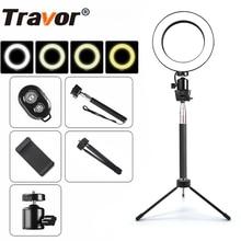 Travor عكس الضوء 64 قطعة LED Selfie مصباح مصمم على شكل حلقة 3200 5500k حلقة مصباح التصوير LED مصباح مصمم على شكل حلقة مع حامل هاتف إضاءة السليفي