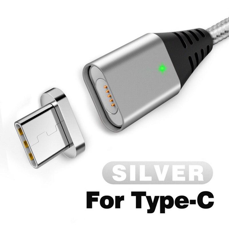 GETIHU 2.4A быстрое зарядное устройство 3,0 Магнитный кабель для iPhone XS XR X 7 6 Быстрый Micro usb type C магнит type-C телефонный кабель для samsung - Цвет: For Type C Silver