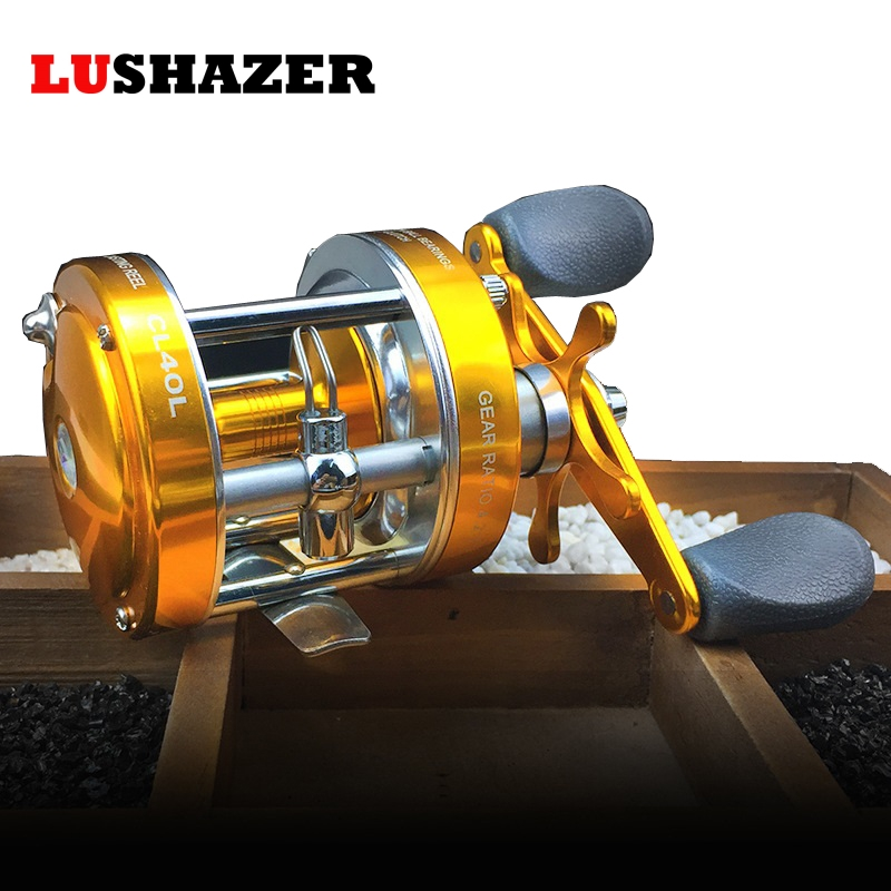 Aluminum fishing boat reel drum type CL-40 2+1BB 290g/pcs baitcasting reel left hand ava ...