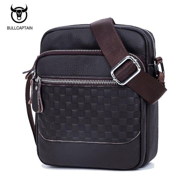 f6633ad2bec8 BULLCAPTAIN 2018 fashion GENUINE LEATHER MEN s CROSSBODY bags men vintage  plaid brand shoulder bag MALE BAG messenger bags 011