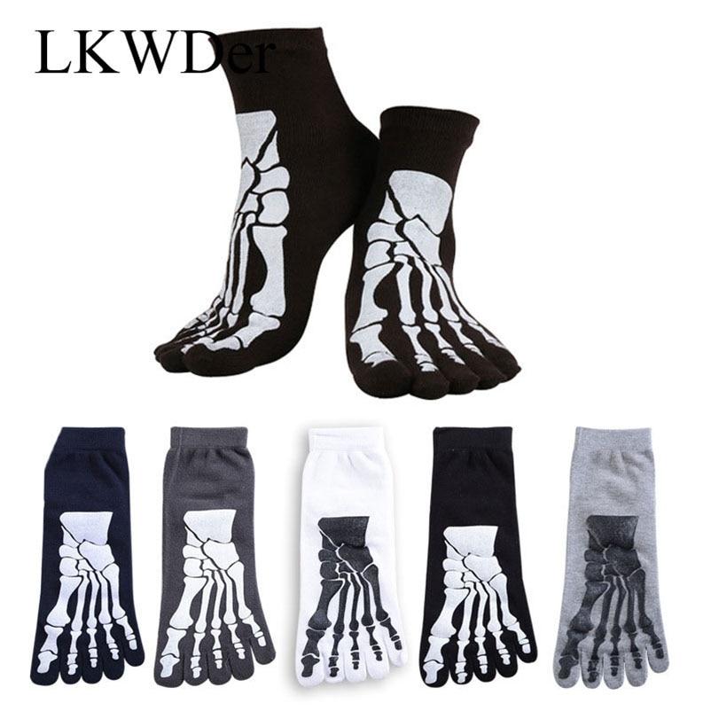 LKWDer 4 Pairs Punk Rock Men's 3D Print Terror Skeleton Toe Socks Hip Hop Scary Skull Five Finger Odd Sox Bone Short Socks Meias