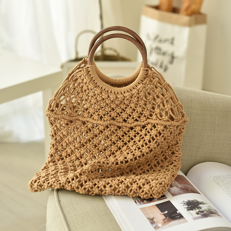 Ins Hot Cotton Knitted Bag Wood Handle Women Bag Hollowed Out Straw Woven Bag Beach Bag Totes woven bag with double handle